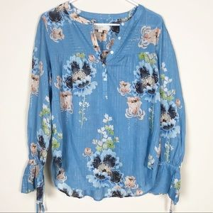 NWT LOFT Shimmer Floral Blossom Top w/ tie cuffs